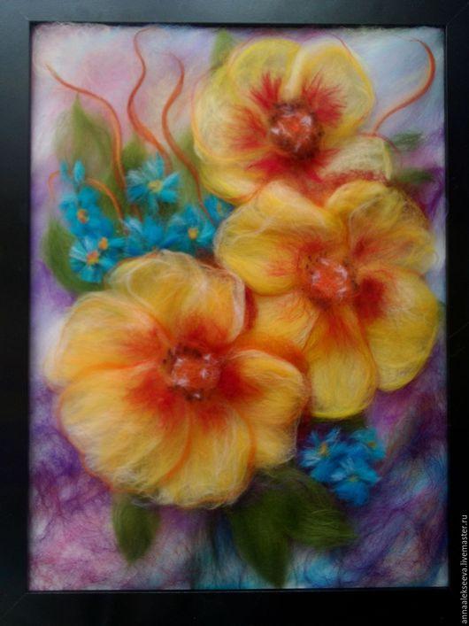 Картины цветов ручной работы. Ярмарка Мастеров - ручная работа. Купить Картина шерстью Экзотические цветы. Handmade. Картина в подарок