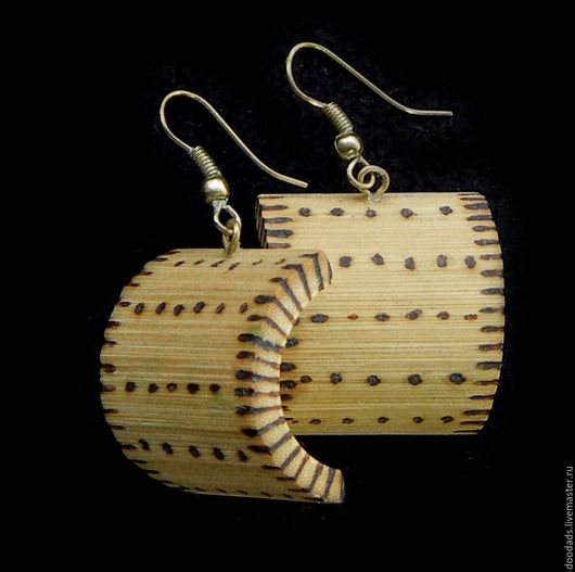 Серьги ручной работы. Ярмарка Мастеров - ручная работа. Купить Серьги из бамбука Фактура. Handmade. Бамбук, африканские украшения