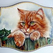 Картины и панно ручной работы. Ярмарка Мастеров - ручная работа Панно для интерьера Рыжий кот на заборе. Handmade.