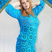 handmade. Livemaster - original item tunic: Tunic crocheted Turquoise.. Handmade.