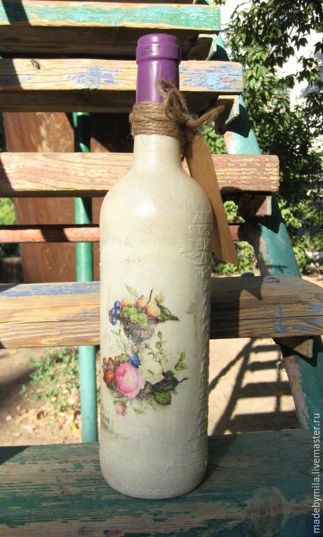 Подарочное оформление бутылок ручной работы. Ярмарка Мастеров - ручная работа. Купить Вино подарочное. Handmade. Разноцветный, Декупаж