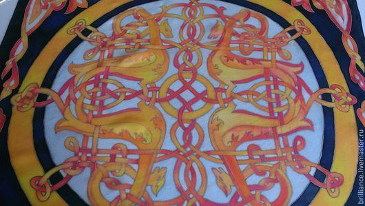 """Шарфы и шарфики ручной работы. Ярмарка Мастеров - ручная работа. Купить Платок """"Солнечная плетенка"""". Handmade. Орнамент, круг, оранжевый"""
