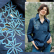Одежда handmade. Livemaster - original item Blouse linen blue embroidered silk КVETKI. Handmade.