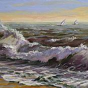 Картины и панно handmade. Livemaster - original item A small oil painting with a wave. Seascape.. Handmade.