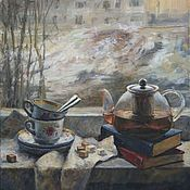Картины и панно handmade. Livemaster - original item Tea on the windowsill. Oil painting. 2017.. Handmade.