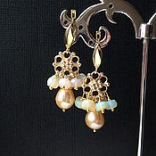 Украшения handmade. Livemaster - original item Earrings with pearls and opal in gold.. Handmade.