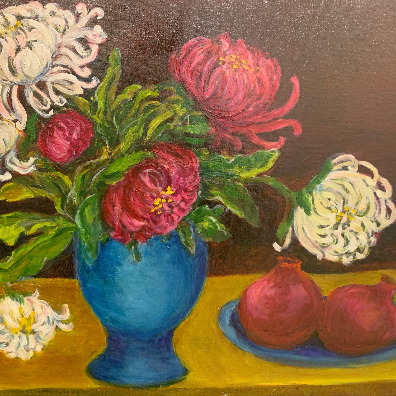 Картина маслом Хризантемы в голубой вазе и гранаты, Картины, Москва,  Фото №1