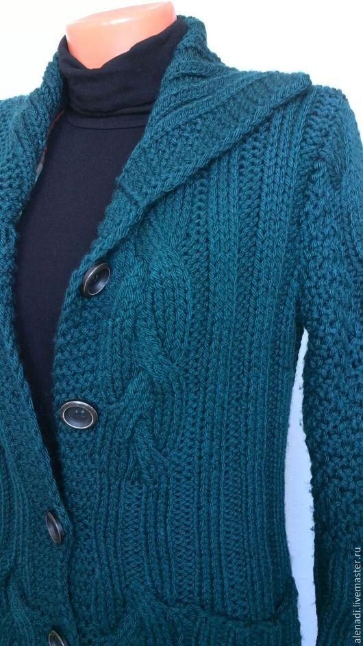 """Верхняя одежда ручной работы. Ярмарка Мастеров - ручная работа. Купить Вязаное пальто """"Морская волна"""". Handmade. Тёмно-бирюзовый"""
