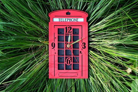 Часы для дома ручной работы. Ярмарка Мастеров - ручная работа. Купить Часы настенные Лондонская телефонная будка. Handmade. путешествие