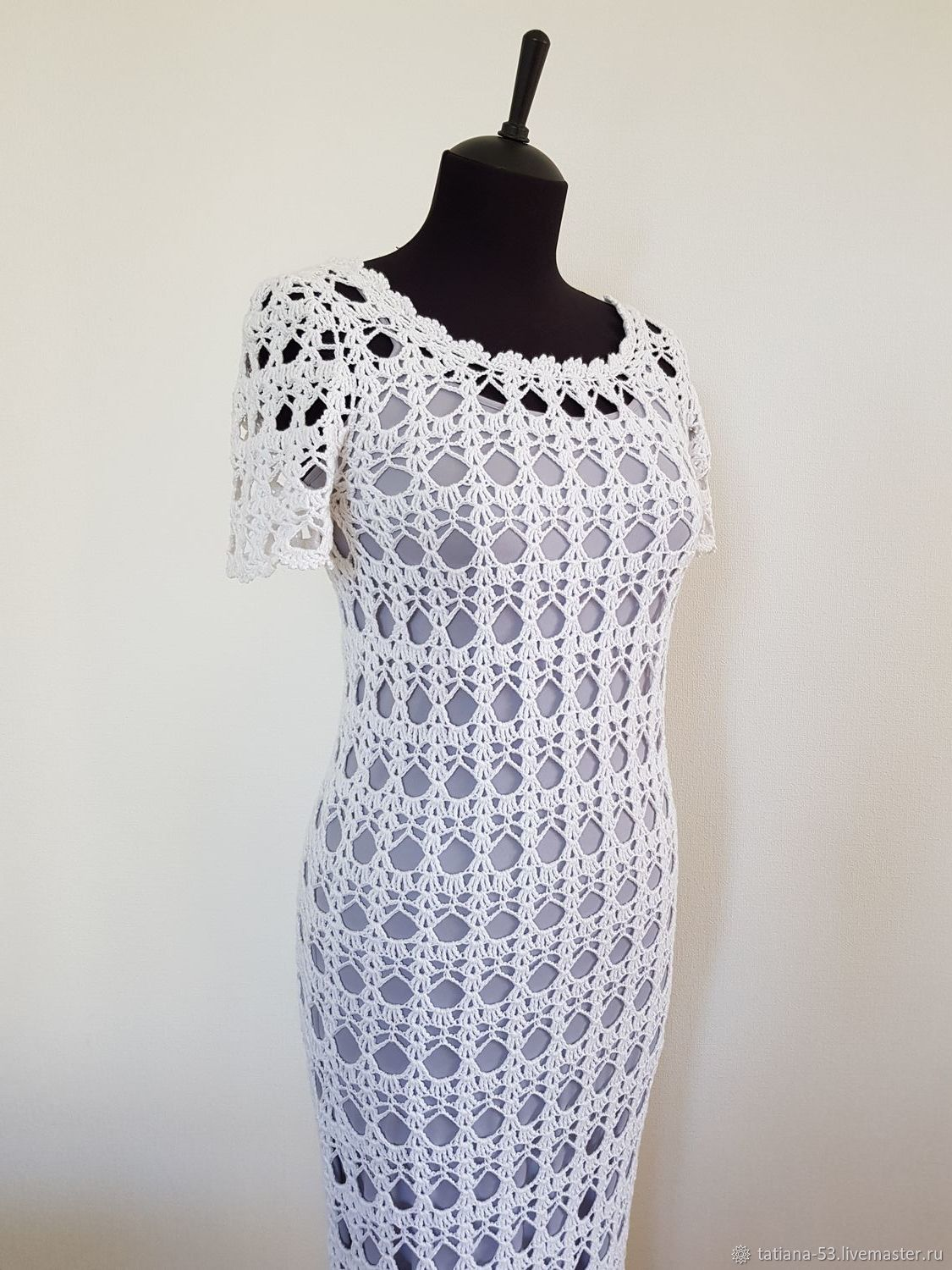 White Cotton Hand knitting Crocheted Summer Dress, Dresses, Moscow,  Фото №1
