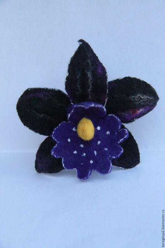 """Броши ручной работы. Ярмарка Мастеров - ручная работа. Купить Орхидея """"Богема"""". Handmade. Черный, шерсть"""