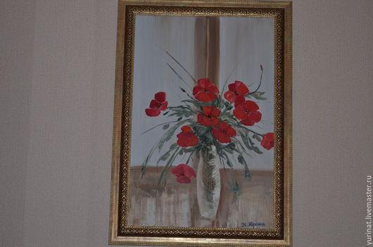 Картины цветов ручной работы. Ярмарка Мастеров - ручная работа. Купить Маки на подоконнике. Handmade. Ярко-красный, цветы