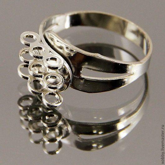 Безразмерная металлическая основа для кольца серебряного цвета с тремя рядами из трех петелек для крепления подвесок бусин
