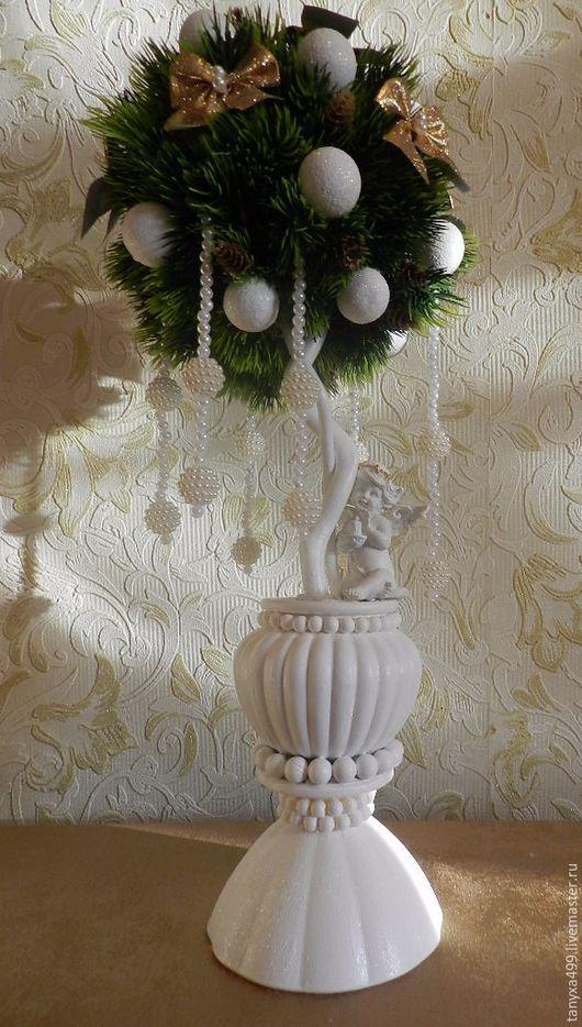 """Топиарии ручной работы. Ярмарка Мастеров - ручная работа. Купить Топиарий """"Рождество"""". Handmade. Белый, подарок ручной работы, ангелочек"""