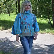 Одежда ручной работы. Ярмарка Мастеров - ручная работа Жакет валяный женский Небесная лазурь голубой. Handmade.