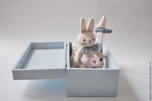 Мишки Тедди ручной работы. Ярмарка Мастеров - ручная работа. Купить Зайка морячок в коробочке. Handmade. Голубой, тедди игрушка