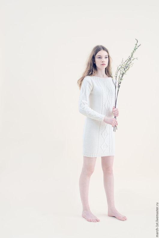 Платья ручной работы. Ярмарка Мастеров - ручная работа. Купить Платье с аранами. Handmade. Натуральные цвета, платье теплое