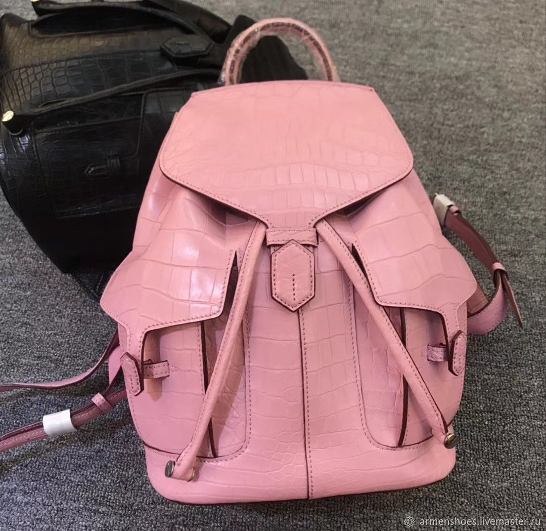 Рюкзачок из брюшной части кожи крокодила, в приятном розовом цвете, Рюкзаки, Тосно,  Фото №1