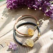 Украшения handmade. Livemaster - original item Leather bracelet with citrine. Handmade.