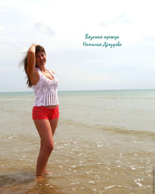 """Пляжные брюки, шорты ручной работы. Ярмарка Мастеров - ручная работа. Купить Летний комплект """"На берегу моря!"""". Handmade."""