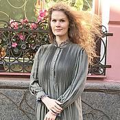 Платья ручной работы. Ярмарка Мастеров - ручная работа Платье миди Стефани олива. Handmade.