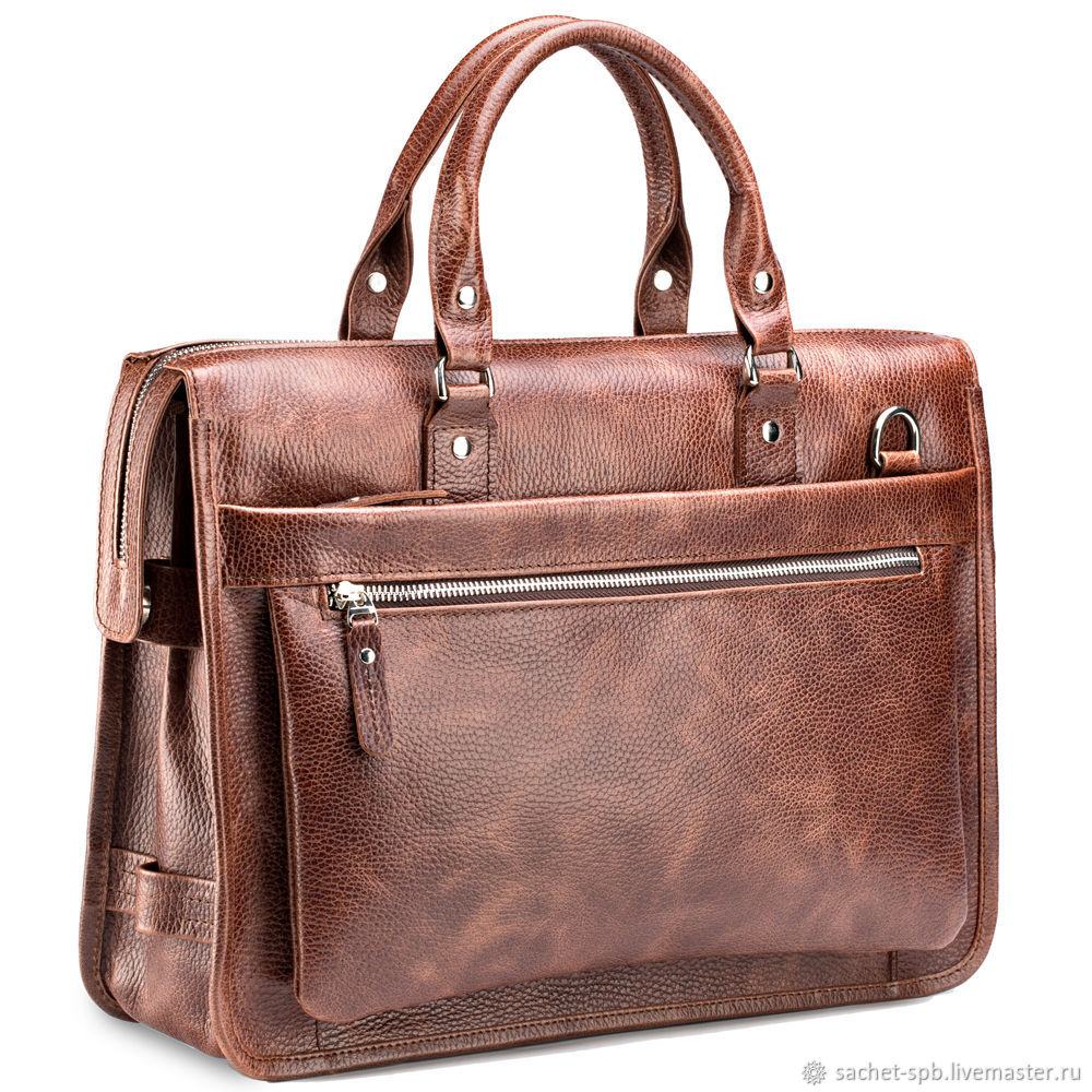 Leather business bag 'Williams' (light brown), Classic Bag, St. Petersburg,  Фото №1