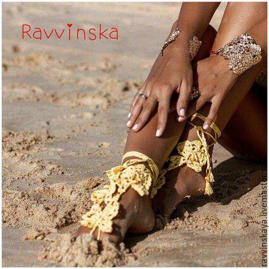 Украшения для ножек ручной работы. Ярмарка Мастеров - ручная работа. Купить Ажурное украшение для ног. Вязанный браслет для пляжа. Handmade.
