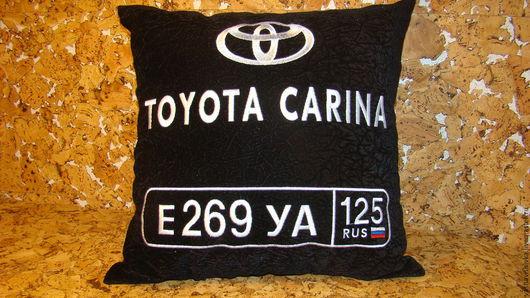 Автомобильные ручной работы. Ярмарка Мастеров - ручная работа. Купить Авто подушка Toyota с номером. Handmade. Подарок автовладельцу