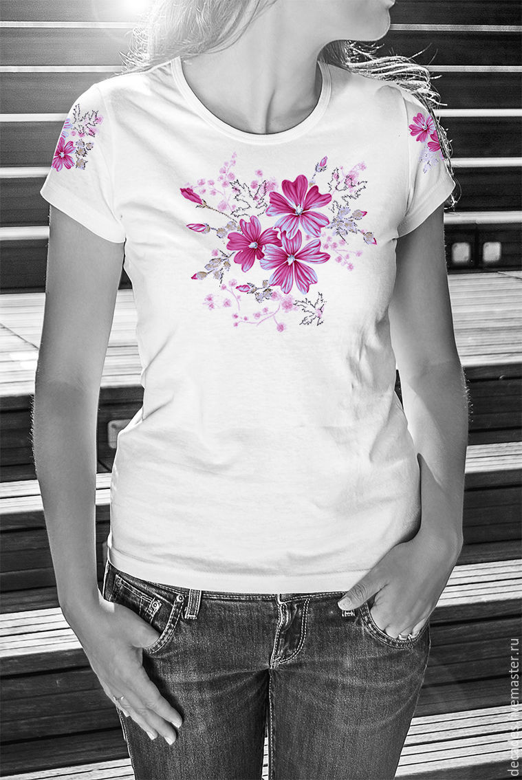 T-shirt Pink flowers, T-shirts, Moscow,  Фото №1