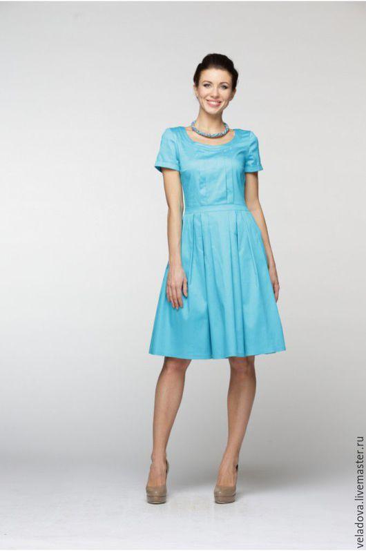 """Платья ручной работы. Ярмарка Мастеров - ручная работа. Купить Хлопковое платье """"Фрио"""". Handmade. Голубой, платье на каждый день"""