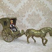 Винтаж ручной работы. Ярмарка Мастеров - ручная работа Старинная фигура- лошадка,карета. Handmade.