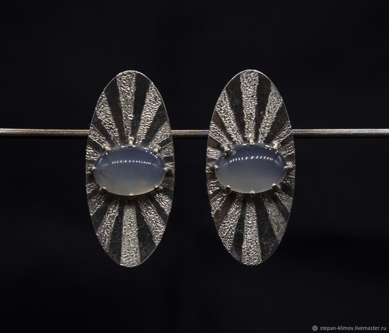 Earrings 'Shields' silver, chalcedony, Earrings, Krasnoyarsk,  Фото №1