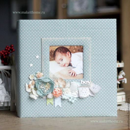 """Подарки для новорожденных, ручной работы. Ярмарка Мастеров - ручная работа. Купить Большой альбом для мальчика """"Первый год"""". Handmade. Голубой"""