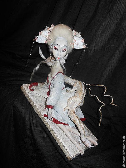 Коллекционные куклы ручной работы. Ярмарка Мастеров - ручная работа. Купить Белая Гейша и Дракон. Handmade. Коллекционная кукла