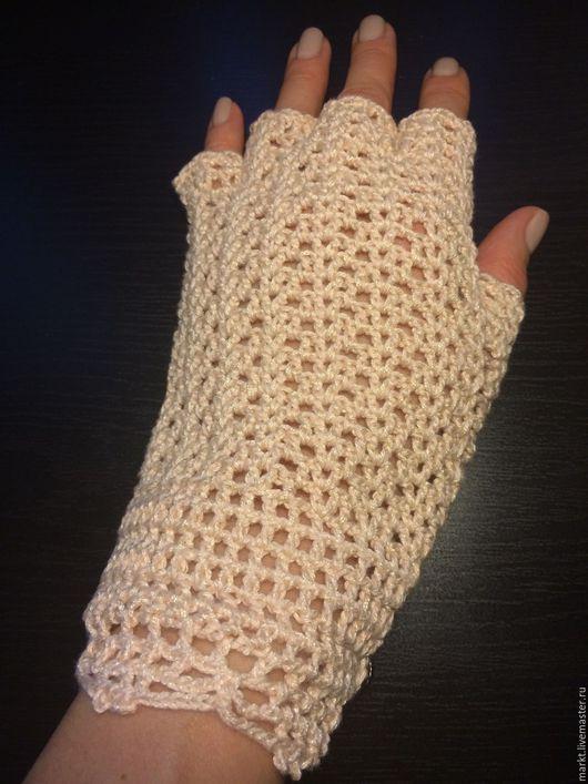 Варежки, митенки, перчатки ручной работы. Ярмарка Мастеров - ручная работа. Купить Митенки для дамы из летнего хлопка. Handmade.