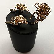 Украшения ручной работы. Ярмарка Мастеров - ручная работа Кольцо и серьги Розы из золота 585 пробы. Handmade.