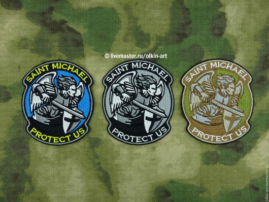 Нашивка `SAINT MICHAEL PROTECT US` (цветная / чёрная / мультикам) Машинная вышивка. Белорецкие нашивки. Нашивка. Шеврон. Патч. Вышивка. Шевроны.  Патчи. Нашивки. Купить нашивку.