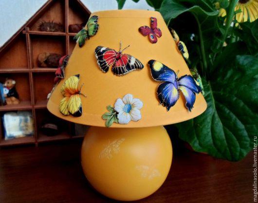 """Освещение ручной работы. Ярмарка Мастеров - ручная работа. Купить Светильник """"Бабочки"""". Handmade. Желтый, подарок для девочки, детская комната"""