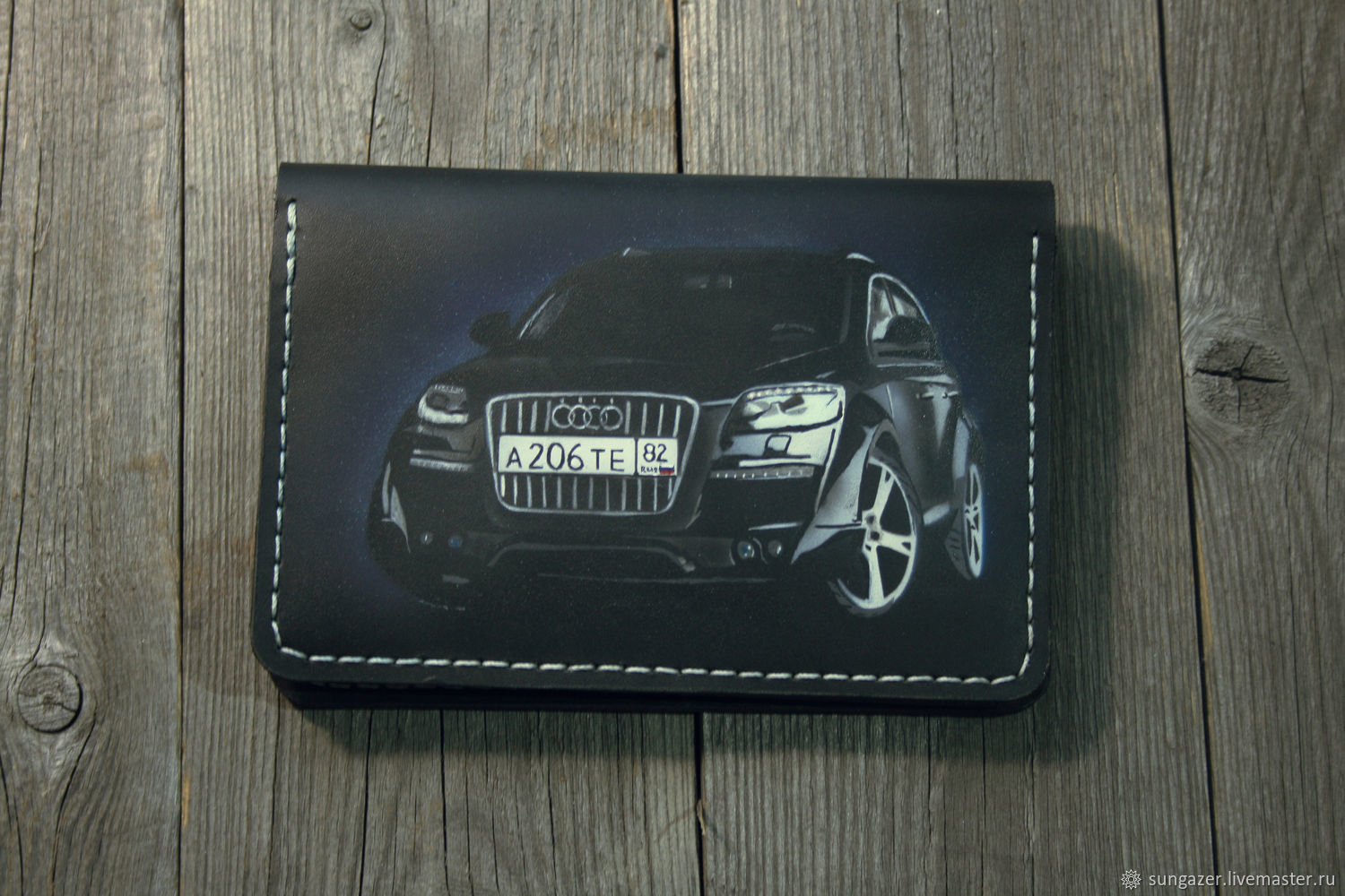 The cover for auto documents is leather with a picture of your car, Cover, Murmansk,  Фото №1