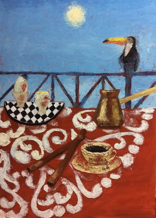 Натюрморт ручной работы. Ярмарка Мастеров - ручная работа. Купить Карибское утро. Handmade. Разноцветный, картина для интерьера, утро