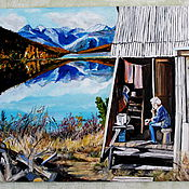 Картины и панно ручной работы. Ярмарка Мастеров - ручная работа картина маслом У озера. Handmade.