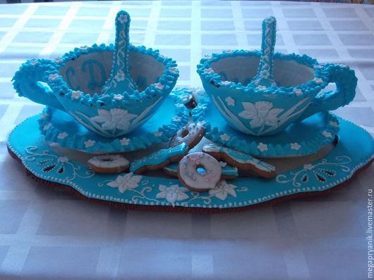 Кулинарные сувениры ручной работы. Ярмарка Мастеров - ручная работа. Купить Пряничные чашки с подносом. Handmade. Голубой, пряничные блюдца