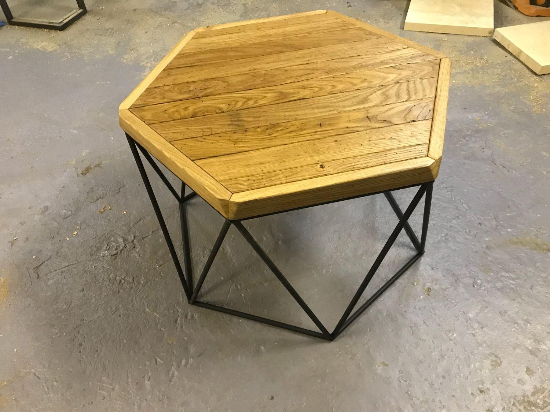 журнальный столик в стиле лофт из старого дуба купить в интернет