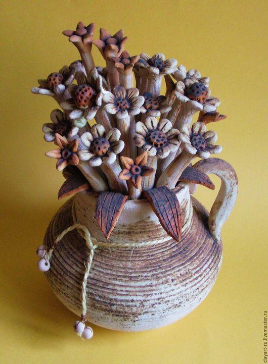 Букеты ручной работы. Ярмарка Мастеров - ручная работа. Купить Керамический букет в стиле Кантри. Handmade. Бежевый, букетики