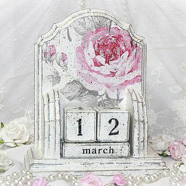 Канцелярские товары ручной работы. Ярмарка Мастеров - ручная работа Вечный календарь Шебби шик Розы белый с розовыми розами. Handmade.