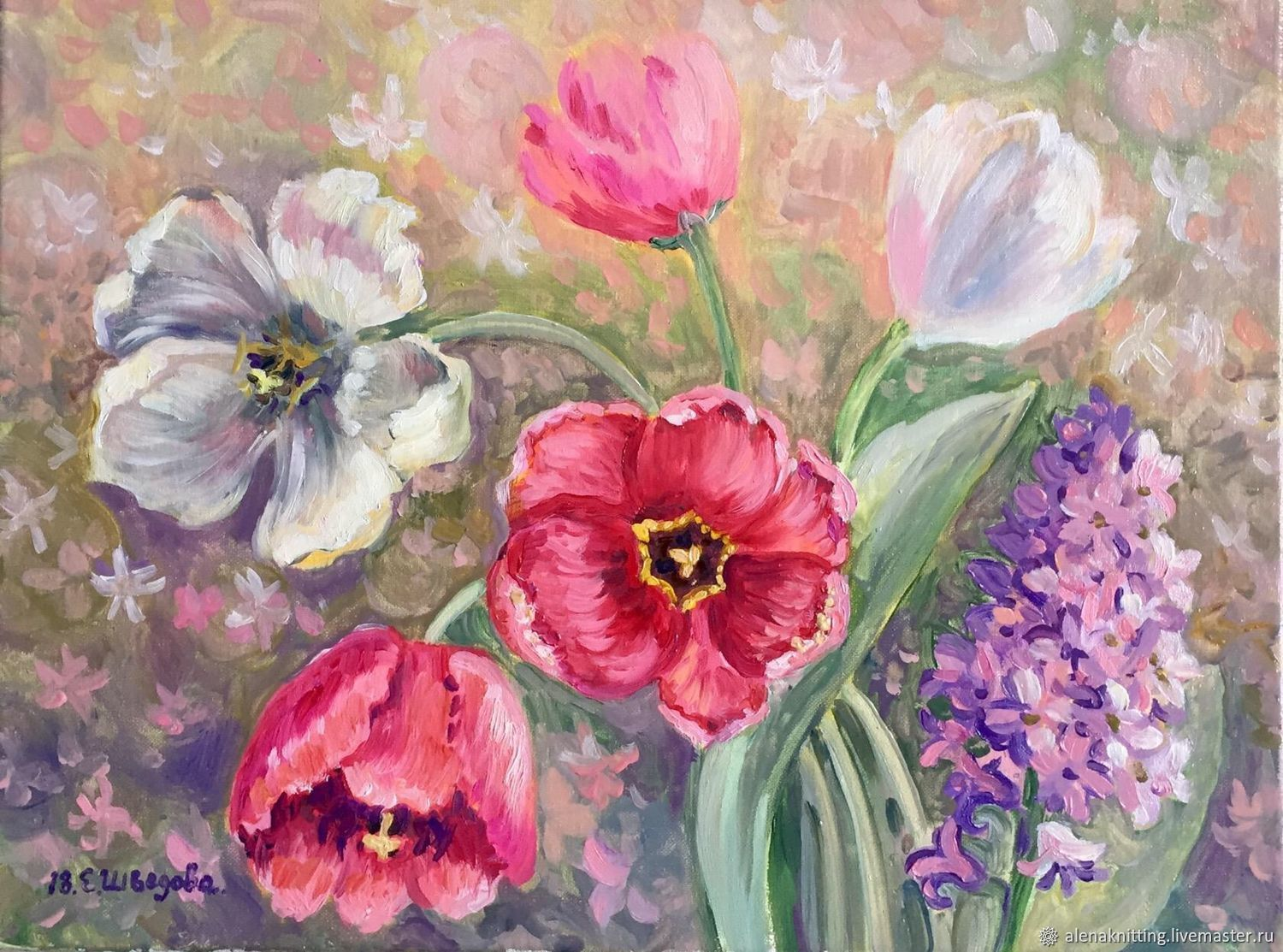 Oil painting 'Hyacinth and tulips', Pictures, Moscow,  Фото №1
