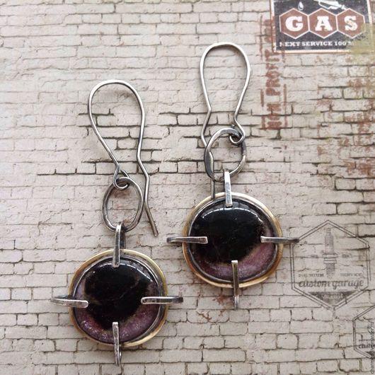 """Серьги ручной работы. Ярмарка Мастеров - ручная работа. Купить Серьги с турмалинами """"Часы"""". Handmade. Крупные серьги, латунь"""