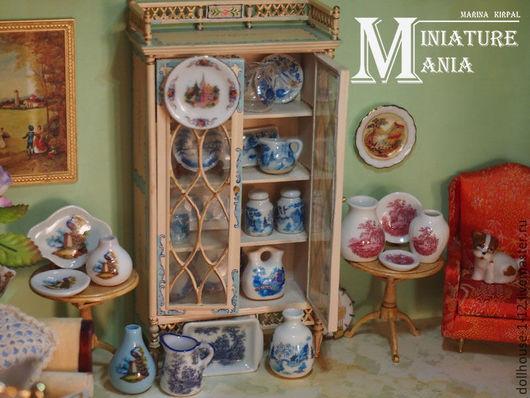 Миниатюра ручной работы. Ярмарка Мастеров - ручная работа. Купить миниатюрная посуда для кукольного домика 1:12. Handmade. Синий