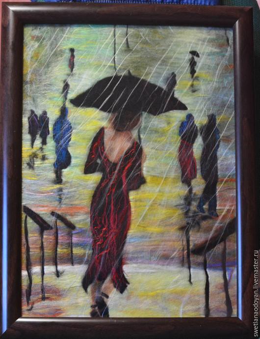 """Люди, ручной работы. Ярмарка Мастеров - ручная работа. Купить Картина из шерсти """"Она уходила в дождь"""" по картине Лоррэйн Кристи.. Handmade."""
