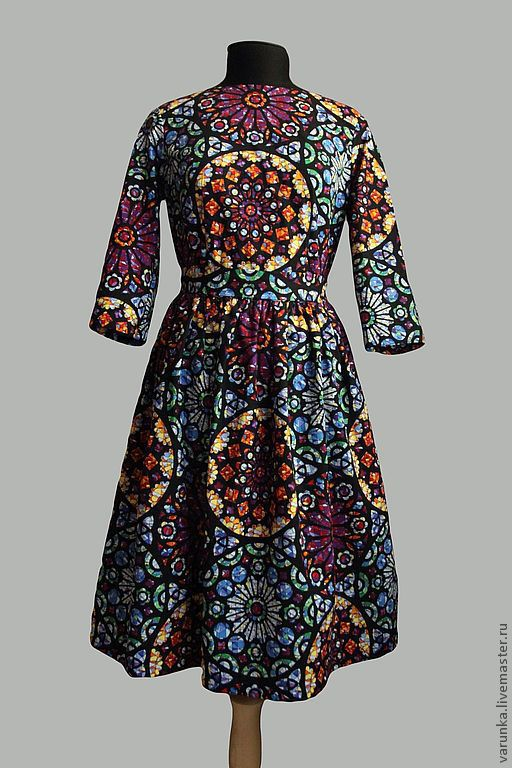"""Платья ручной работы. Ярмарка Мастеров - ручная работа. Купить Платье """"Витражи"""". Handmade. Орнамент, Весеннее платье, ретро, винтаж"""